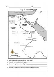 English Teaching Worksheets Ancient Egypt - Map of ancient egypt for 6th grade