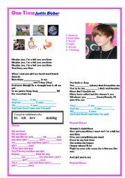 English Worksheet: On Time- Justin Bieber song