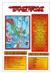 English Worksheets: READING COMPREHENSION.GERONIMO IS DIVING.( editable texts)