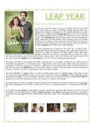 English Worksheets: Leap Year - Amy Adams - Movie