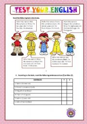 English Worksheets: TEST YOUR ENGLISH - BEGINNERS