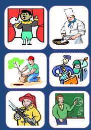 English Worksheet: JOBS  MATCHING ( 18 Flash cards)
