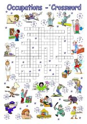 English Worksheet: Occupations - Crossword