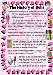 English Worksheets: The History of Dolls - 2 pages + key
