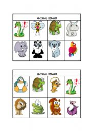 English Worksheet: Animal Bingo part 1/3 (editable)