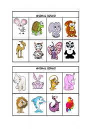English Worksheet: Animal Bingo part 2/3 (editable)