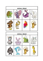 English Worksheet: Animal Bingo part 3/3 (editable)