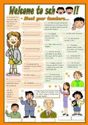 English Worksheet: WELCOME TO SCHOOL! - Meet your teachers