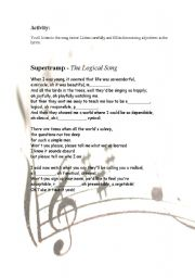 English worksheet: Missing Adjectives in a Song - Intermediate Level