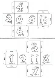 English Worksheet: Numbers (1-90) DICE -