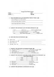 English Worksheets: Language Arts Evaluation