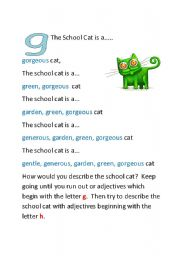 English Worksheets: The School Cat - Part Two