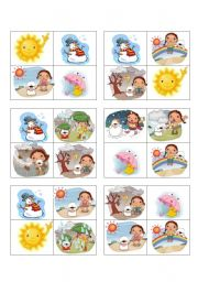 English Worksheet: weather bingo - 24 cards