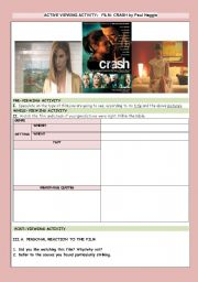 English Worksheets: MOVIE: CRASH by PAUL HAGGIS (2 pages)