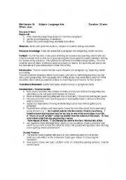 English Worksheets: mini language arts lesson