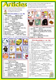 English Worksheets: The Definite and Indefinite - Articles