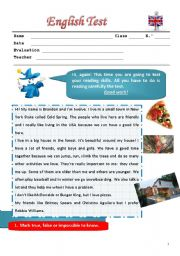 English Worksheets: test for special needs pupils