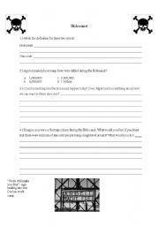 English Worksheet: Holocaust worksheet