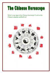 English Worksheet: The Chinese Horoscope (2 pages + key)