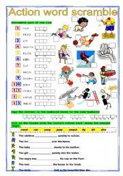 English worksheet: ACTION Word Scramble