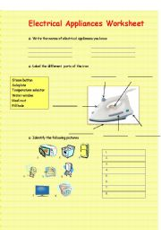 English Worksheet: Electrical Appliances Worksheet
