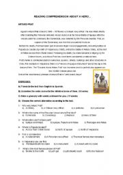 English Worksheets: A CHILEAN HERO CALLED ARTURO PRAT