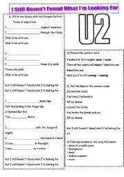 English Worksheet: U2-I Still Haven´t Found What I´m Looking For