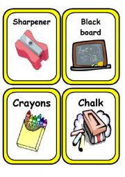 English Worksheets: School Stuff Flashcards (updated)