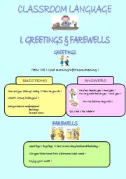 My Classroom Language Page 1 GREETINGS & FAREWELLS