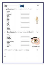 English Worksheets: body vocabulary test