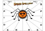 English Worksheet: Spider Spelling Activity Sheet for Teams or Pairs