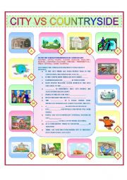 English Worksheet: CITY VS COUNTRYSIDE