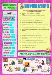 English Worksheet: REPHRASING: ADJECTIVE / VERB + PREPOSITION