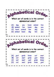 English Worksheets: Alphabitcal order