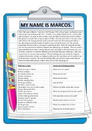 English Worksheet: My name is Marcos. Reading comprehension.