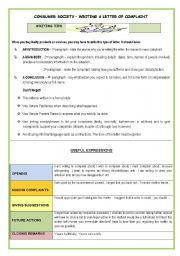 WRITING -CONSUMER SOCIETY-WRITING A LETTER OF COMPLAINT(2 PAGES)