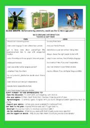 English Worksheet: CONVERSATION -CLASS DEBATE:BEFORE ENTERING UNIVERSITY, WOULD YOU LIKE TAKING A GAP YEAR?
