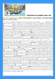 English Worksheet: TEENS -TECHNOLOGY AND MODERN FAMILY LIFE(WITH KEY)