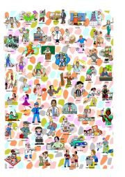 English Worksheet: I spy occupations poster and criss cross worksheet: words and pictures