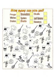 English Worksheets: How many halloween pictures can you see?