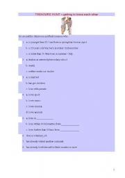 English Worksheet: SPEAKING: TREASURE HUNT - GETTING TO KNOW EACH OTHER