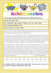 English Worksheet: MASS  MEDIA INFLUENCE ON SOCIETY