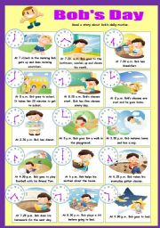 English Worksheet: Bob´s Day (Part I)