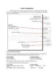 Letter of application worksheets