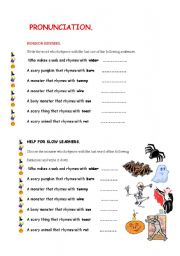 English Worksheet: HALLOWEEN: PRONUNCIATION HORROR RHYMES
