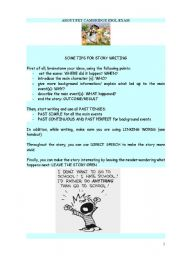 English Worksheets: Tips for story writing - PET level