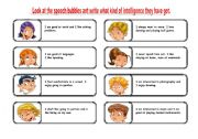 English Worksheets: multiple intelligence