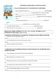 English Worksheet: Rephrasing (unless & if clauses - all types)