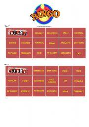English Worksheets: ADJECTIVES BINGO - 2/3