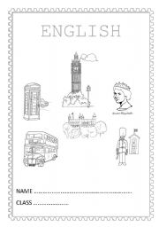 English Worksheets: English notebook cover